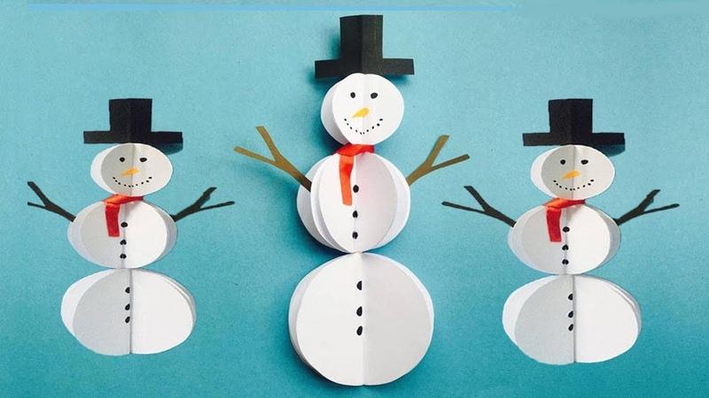 DIY Paper Snowman Craft Easy Snowman Making Ideas Winter Crafts