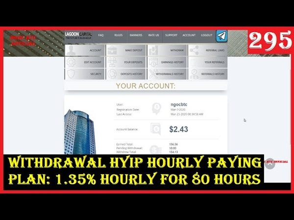 HYIP HOURLY PAYING WITHDRAWAL LAGOONCAPITAL PLAN 1 35% HOURLY FOR 80 HOURS
