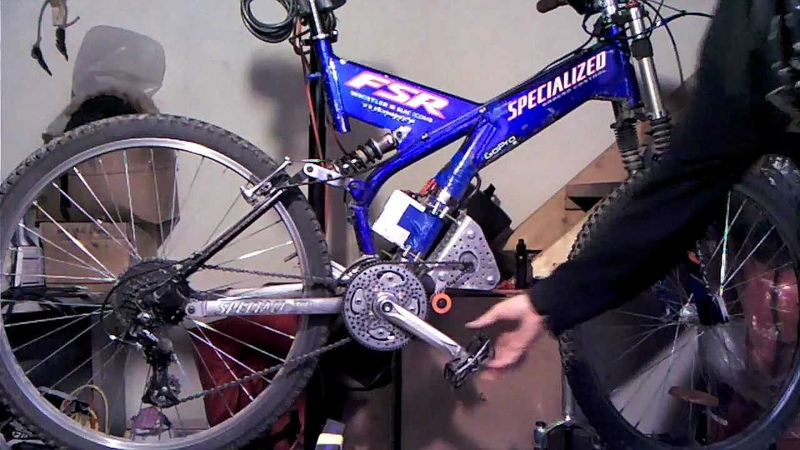 Mid drive electric bike - dual chainring on freewheel cranks - 750 watt DC motor