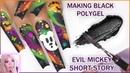 Making BLACK POLYGEL! Halloween Polygel Swirl! Mickey Mouse Ghost Storytime!