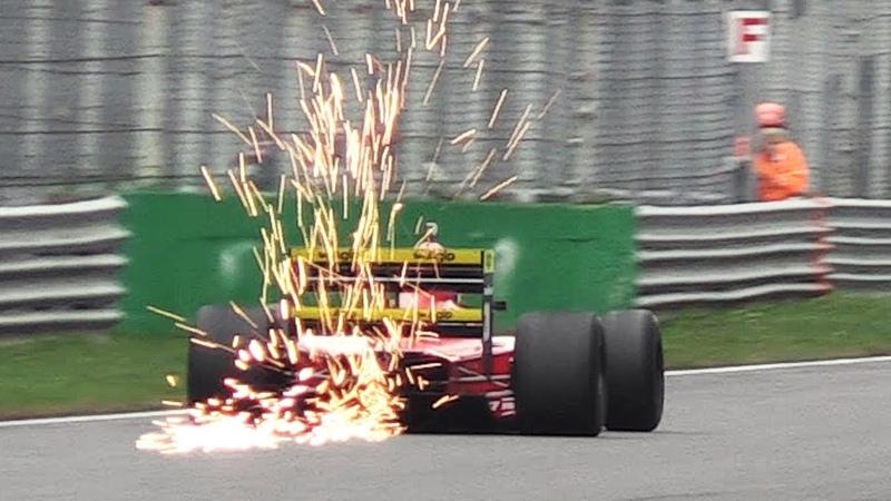 1989 Ferrari 640 F1 (F1-89) ex Berger in action - V12 Sound, Sparks Vapour Trails!