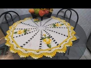 Toalha e centro de mesa redonda do jogo de cozinha Esther 🍃🌸🍃de crochê fácil #elizabethsilva