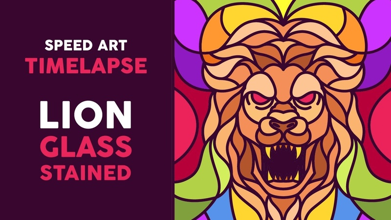 Timelapse Lion Glass Stained Illustration Speed Art