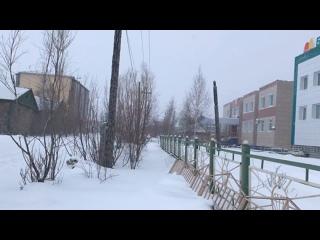 Весенний снегопад в якутском г. Покровск.