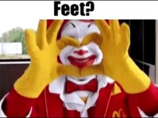 Ronald Mcdonald says yes to footfetish