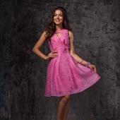 Ярко-розовое двуслойное платье
