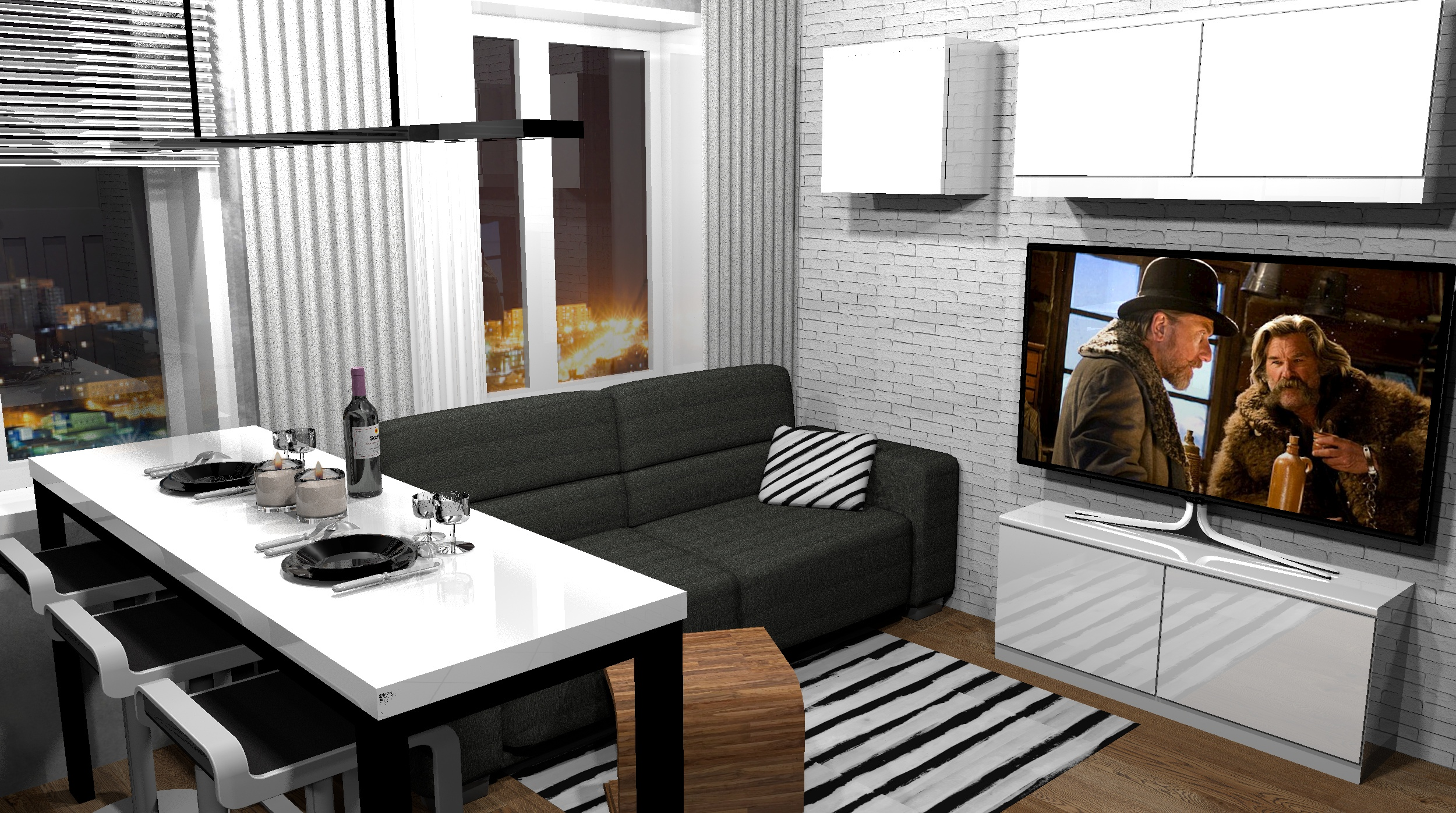 Проект квартиры-студии 24 кв/м в современном стиле.