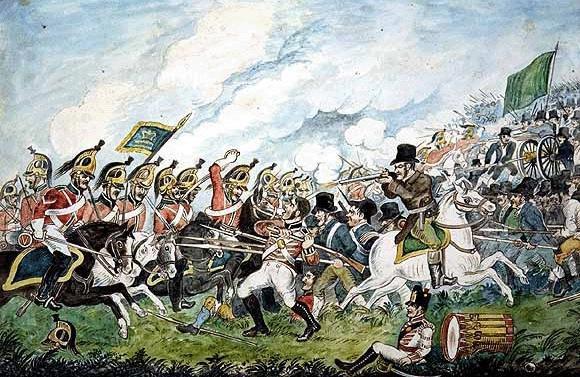Уильям Сэдлер II. Битва при Винегар-хилл в ходе Ирландского восстания 1798 г. между британскими войсками и ирландскими повстанческими силами. На первом плане изображен ополченец из числа проанглийских йоменов, перешедший на сторону повстанцев