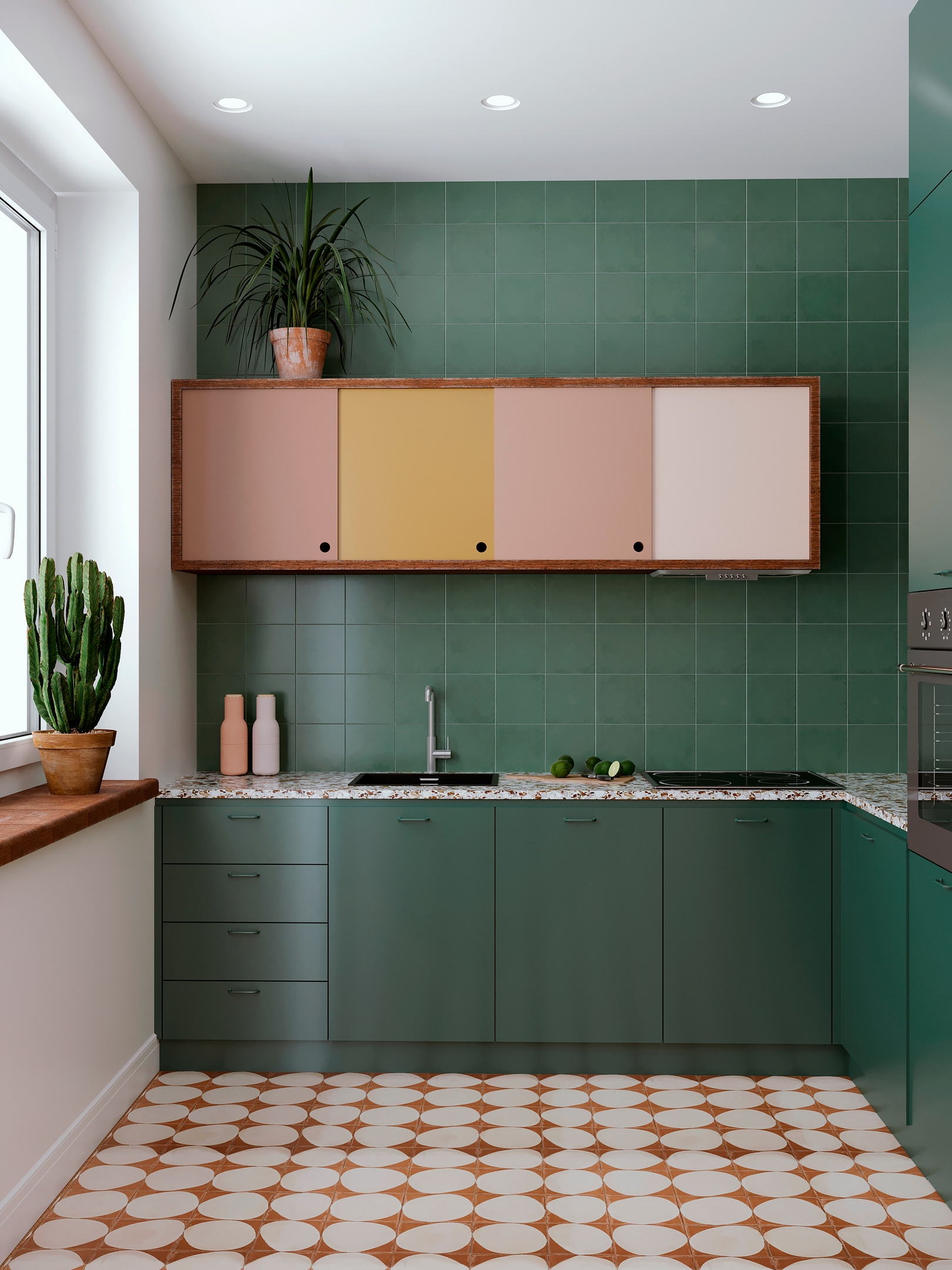 Проект интерьера квартиры с кухней-гостиной и небольшой спальней с этническими мотивами, 52 м2.