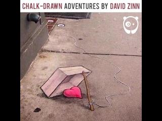 Bored Panda - Chalk-drawn adventures by David Zinn...