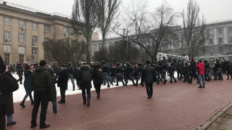Стихийный митинг, Курск, 23 января 2021 г., часть 1