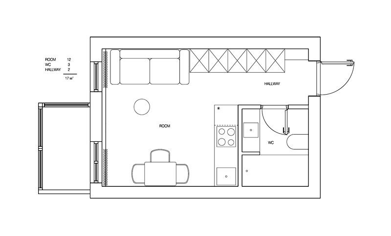 Проект маленькой квартиры-студии 17 м.