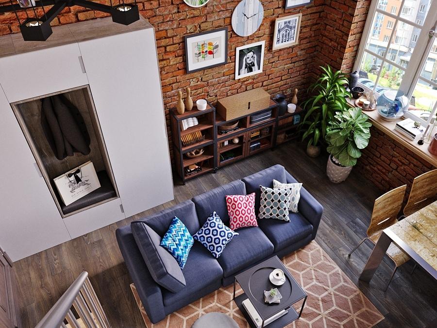 Дизайн-проект двухуровневой квартиры 25 кв.