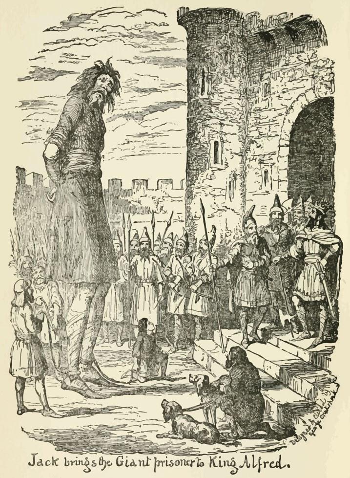 """«Джек-убийца гигантов» - это корнуоллская сказка и легенда о молодом человеке, который убил несколько плохих гигантов во время правления короля Артура. Сказка характеризуется насилием, кровью и кровопролитием. Гиганты видны в корнуоллском фольклоре, бретонской мифологии и уэльских бардских преданиях.В данном случае мы имеем дело с королем Альфредом. Винтажная гравюра - Сцена из рассказа Джорджа Крукшенка """"Джек-убийца""""."""