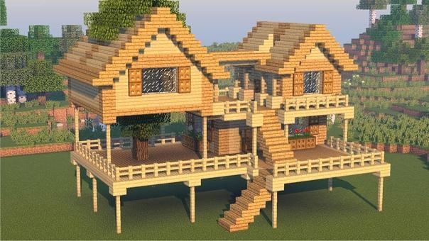 как построить начальный и красивый дом в майнкрафт #8