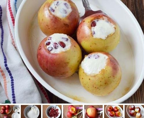Яблоки, запеченные с творогом и гранатом