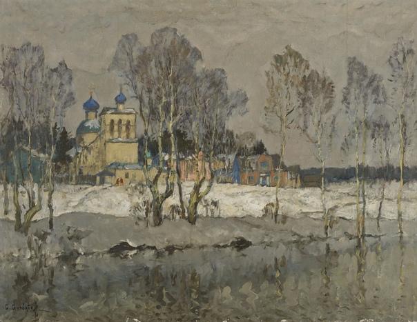 Константин Иванович Горбатов (1876 - 1945) Первый день года Холст, масло. 87 x 108 см