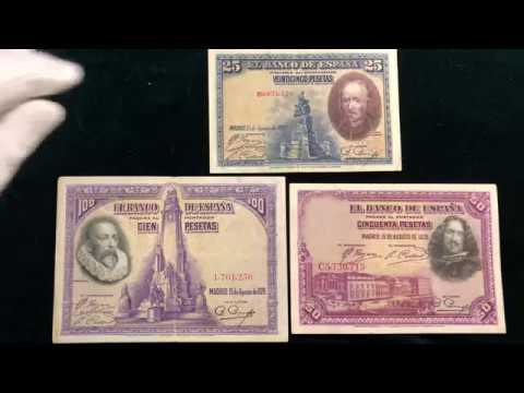 Красивые банкноты Испании 1928 года