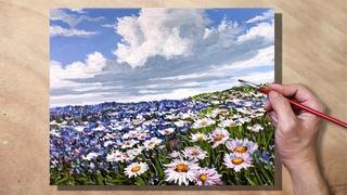Acrylic Painting Daisy Meadow Landscape