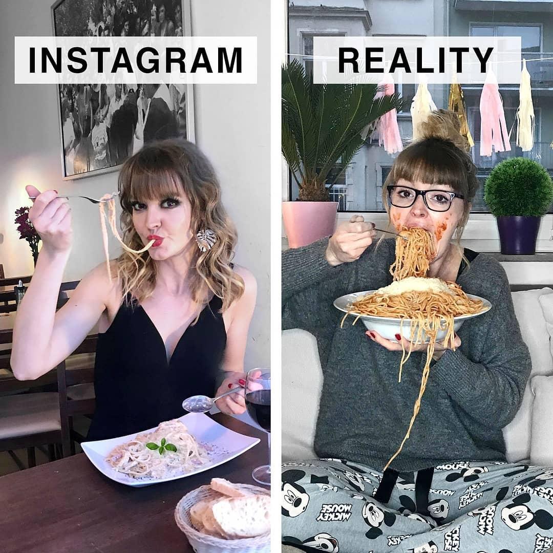 Немка с юморком показывает, как выглядели бы инстаграмные снимки, будь в них хотя бы капля правды