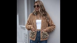 Осень зима 2020 женская модная леопардовая лоскутная куртка из искусственного меха шерпа элегантные женские уютные пушистые